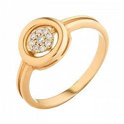 Золотое кольцо с белым цирконием 000071584