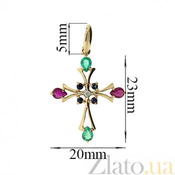 Золотой декоративный крестик с изумрудами, рубинами, сапфирами и бриллиантом Рим 000021604