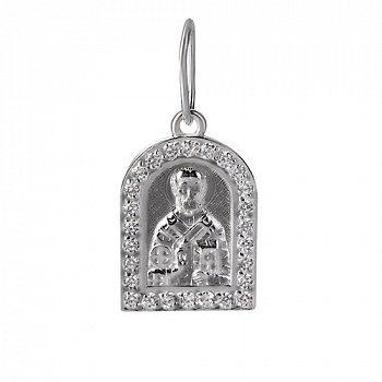 Черненая серебрянаяладанка Николай Чудотворец с фианитами по контуру 000024239