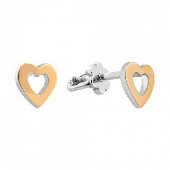 Серебряные серьги-пуссеты с золотыми накладками 000102105