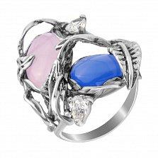 Серебряное кольцо Сафьяновый сад с розовым кварцем, голубым улекситом и фианитами