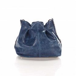 Кожаный клатч-мешок Genuine Leather 1678 цвета бархатный синий с плечевым ремнем