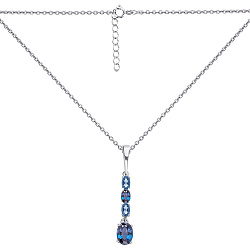 Серебряное колье Рокси в якорном плетении с подвесом из кварцев под голубой и лондон топазы