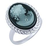 Кольцо из серебра Изольда с ониксом и перламутром