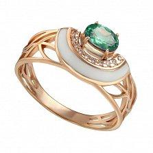 Кольцо в красном золоте Гвинет с зеленым кварцем, эмалью и фианитами в ассортименте