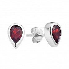 Серебряные серьги-пуссеты с гранатами 000131816