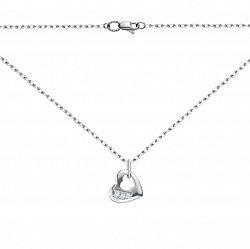 Серебряное колье в моем сердце с цирконием 000050747