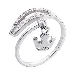 Серебряное кольцо с подвеской-короной и фианитами 000135450