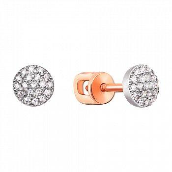 Золоті сережки-пусети з діамантами 000104153