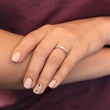Серебряное кольцо Выбор с белым фианитом и частично вогнутой шинкой