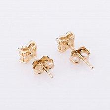 Золотые серьги Маленькие мотыльки с фианитами