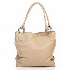 Кожаная сумка на каждый день Genuine Leather 8954 бежевого цвета с декоративной кистью на цепочке