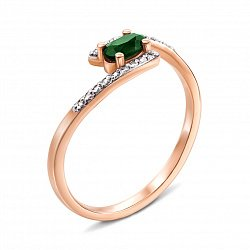 Золотое кольцо с изумрудом и бриллиантами 000136356