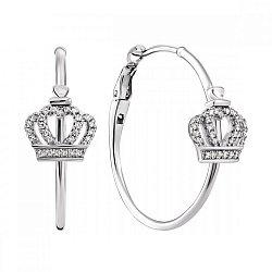 Серебряные серьги-конго с  коронами и фианитами, d 28мм 000100799