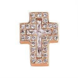 Золотой крестик Альянс в красном цвете с фианитами