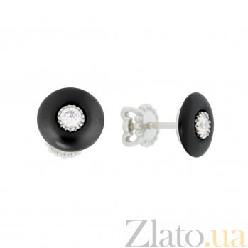 Серебряные серьги-пуссеты Иления с черной керамикой и белыми фианитами 000096524