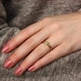 Золотое кольцо в евро цвете с хризолитом и бриллианами