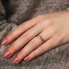 Золотое кольцо в евро цвете Амелия с хризолитом и бриллиантами