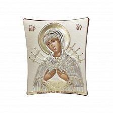 Православная икона Богородица Семистрельная на основе под дерево, гальванопластика, 11,8х14,6см