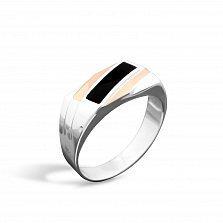 Серебряный перстень-печатка Маэстро с золотыми накладками и черной эмалью