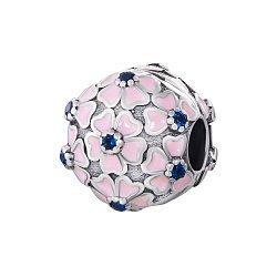 Серебряный шарм-клипса с синими фианитами и розовой эмалью 000072113