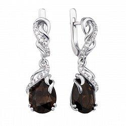 Серебряные серьги-подвески с раухтопазами и фианитами 000136145