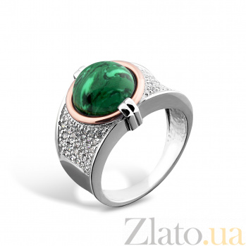 Серебряное кольцо Медея с золотой накладкой, малахитом, фианитами и родием 000079115