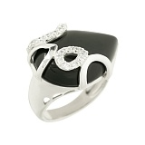Серебряное кольцо с ониксом и фианитами Ульрика
