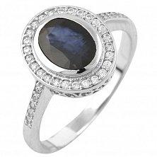 Серебряное кольцо Джина с сапфиром и фианитами