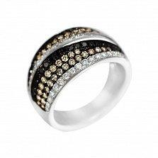 Кольцо из белого золота Пейдж с белыми, черными и коньячными бриллиантами