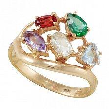 Золотое кольцо Дафна с бериллом, морганитом, синтезированным аметистом, изумрудом и топазом