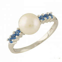 Серебряное кольцо с жемчугом и синтезированным топазом 000065402
