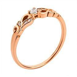 Кольцо из красного золота с цирконием 000134107
