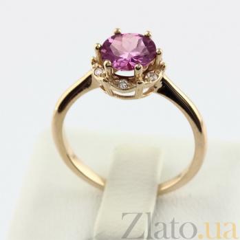 Золотое кольцо с аметистом и фианитами Ада 000024469