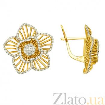 Серьги из желтого золота Хризантема VLT--ТТ286-1