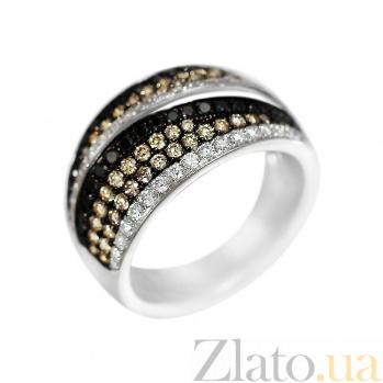 Кольцо из белого золота Пейдж с белыми, черными и коньячными бриллиантами 000080992