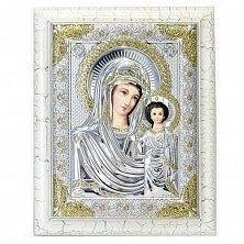 Серебряная икона Казанская с эмалью и позолотой, 15х19