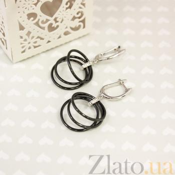 Серебряные серьги-подвески Этель с черной керамикой и белыми фианитами 000082734