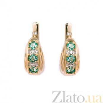 Золотые серьги с бриллиантами и изумрудами Изабель 000021897