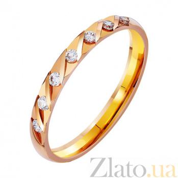 Золотое обручальное кольцо Любовная лирика с фианитами TRF--412756
