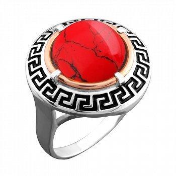 Серебряное кольцо с золотой накладкой, красной яшмой, черной эмалью и чернением 000066915