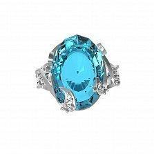 Серебряное кольцо Мериса с голубым кварцем и фианитами