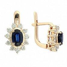 Золотые серьги с бриллиантами и сапфирами Малинка