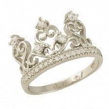 Серебряное кольцо Королева сердца с фианитами