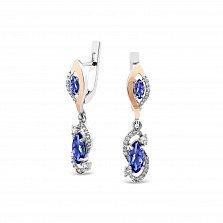 Серебряные серьги-подвески Ксения с золотыми накладками, синими альпинитами и белыми фианитами