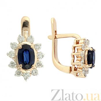 Золотые серьги с бриллиантами и сапфирами Малинка ZMX--BS-93_K