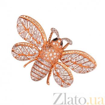 Золотая брошь Пчелка с фианитами VLT--Е432