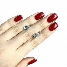 Серебряные серьги Бонита с нано аквамарином и фианитами