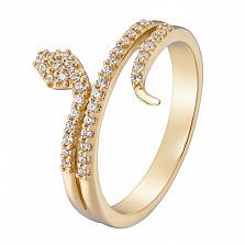 Кольцо в желтом золоте Мудрость с фианитами