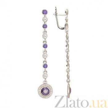 Серьги-подвески с фиолетовым цирконием Джулия VLT--Т2376